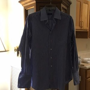 Barney's blue & white dress shirt with cuffs